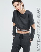 One Day Petite Metallic Ribbed Sweat Top With Cutout Elbow