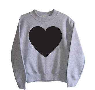 Little Mashers - Adult Grey Heart Chalkboard Sweatshirt - Womens Small - Grey/Black