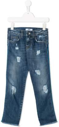 MSGM Kids stripe trim jeans