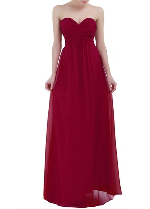 YiZYiF Womens Strapless Bridesmaids Dress Ruched Bust Padded Chiffon Maxi Party Dress Evening Ball Gown Burgundy 10