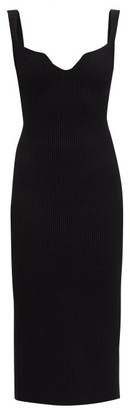 KHAITE Nina Notched-neck Ribbed-knit Midi Dress - Black