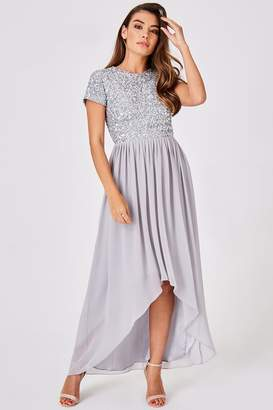 Little Mistress Luxury Elise Grey Hand-Embellished Sequin Hi-Low Prom Dress