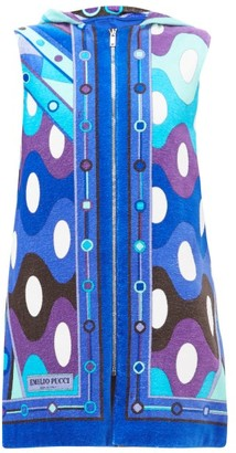 Emilio Pucci Vivara-print Cotton-terry Cover-up - Womens - Blue Multi