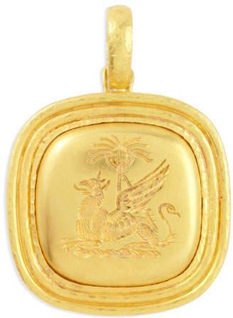 Elizabeth Locke 19k Gold Griffin & Palm Livery Button Pendant