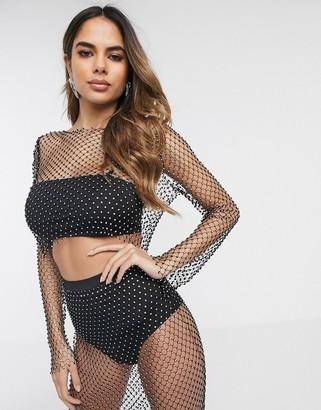 Asos Design DESIGN long sleeve cropped top with mesh embellishment-Black
