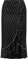 Ganni Dufort Ruffled Polka-dot Silk-blend Satin Skirt - Black