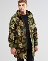 Pretty Green Parka In Camo Print