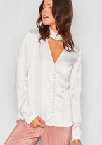 Missy Empire Millie White Satin Choker Button Up Blouse