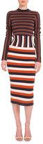 Victoria Beckham Long-Sleeve Mixed-Stripe Sheath Dress, Multi Colors