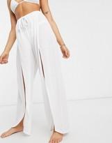 Asos Design DESIGN jersey split front beach pants in white