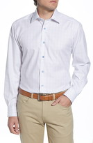 David Donahue Regular Fit Windowpane Dress Shirt