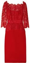 Notte by Marchesa Lace and silk-sateen peplum dress