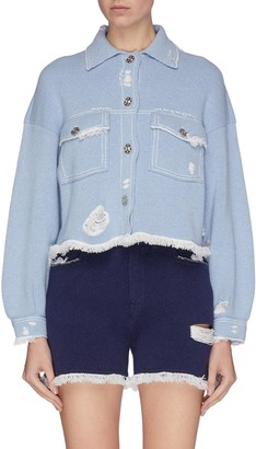 Barrie Denim print fringe hem distress cashmere blend jacket