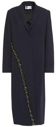 Lanvin Grosgrain-trimmed Crystal-embellished Stretch-ponte Coat