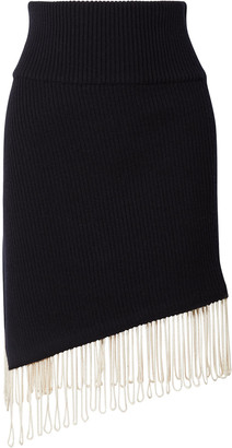 Calvin Klein Asymmetric Fringe-trimmed Ribbed Wool-blend Skirt