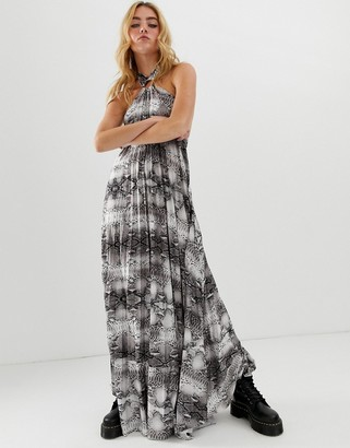 ASOS DESIGN snake halter trapeze pleated maxi dress with ring detail