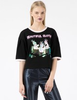 BABY CENTAUR Black Beautiful Sloth Ringer Cropped T-Shirt
