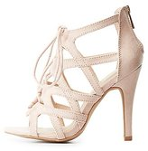 Charlotte Russe Wide Width Caged Lace-Up Dress Sandals