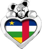GiftJewelryShop Central African Republic flag Light Amethyst Crystal June Birthstone I Love You Heart Care Bear Charm