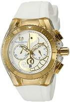 Technomarine unisex Quartz Watch with Gold Dial Chronograph Display and White Silicone Strap TM-115003