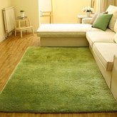 Super Soft Modern Shag Area Silky Smooth Rugs Living Room Carpet Bedroom Rug for Children Play Solid Home Decorator Floor Rug and Carpets 4- Feet By 5- Feet (Green)