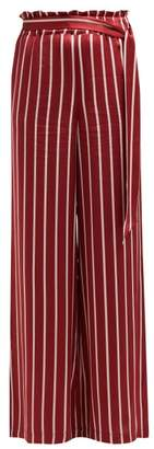 Asceno - Striped Silk Pyjama Style Trousers - Womens - Burgundy Stripe