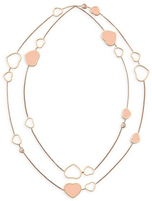 Chopard Happy Hearts 18K Rose Gold & Diamond 2-Strand Station Necklace