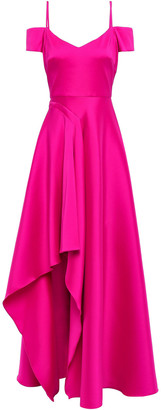 Badgley Mischka Cold-shoulder Faille Gown