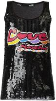 Love Moschino sequinned logo tank - women - Polyamide/Polyester/Viscose - 38