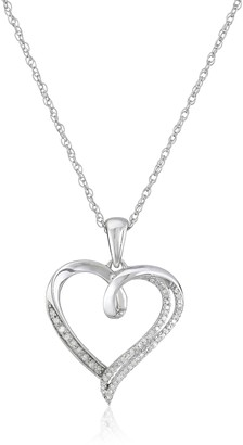 """Amazon Collection Sterling Silver Diamond Heart Pendant Necklace (1/10 cttw) 18"""""""