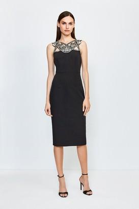 Karen Millen Diamante Cutwork Midi Dress