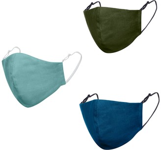 Face My Mask Pack Of 3 Linen Cotton Face Masks With Filter Pocket