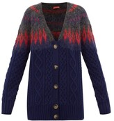 Altuzarra Sita Fair-isle Wool-blend Cable-knit Cardigan - Womens - Blue Multi