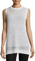 Eileen Fisher Sleeveless Linen Jewel-Neck Fisherman's Knit Tunic