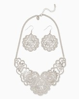 Charming charlie Pansy Filigree Bib Necklace Set Only 1 left Name Qty Pansy Filigree Bib Necklace Set 1 // Only 1 left in Silver! Regular Price: $14.00 Special Price $8.40