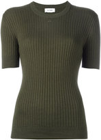 Courreges ribbed knit T-shirt - women - Cotton/Cashmere - 4