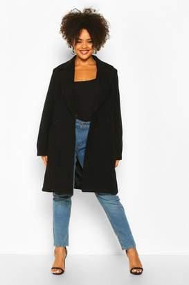 boohoo Plus Zip Front Oversized Wool Look Coat