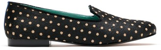 Blue Bird Shoes Noite polka dots loafers