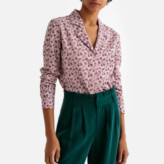 La Redoute Collections Floral Print Cotton Shirt with Tailored Collar