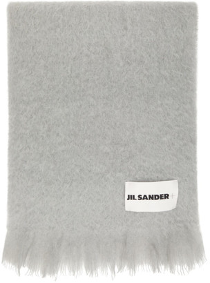 Jil Sander Grey Mohair and Wool Scarf