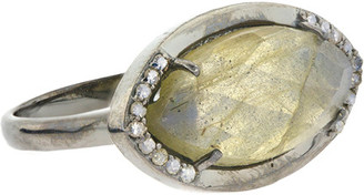 Adornia Fine Silver 2.20 Ct. Tw. Diamond Labradorite Ring