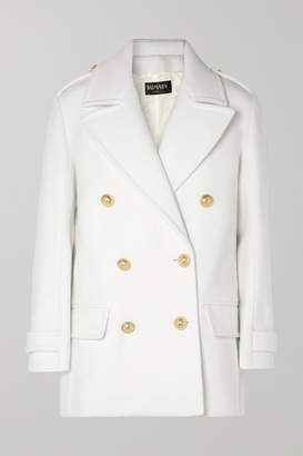 Balmain Button-embellished Double-breasted Wool Coat - White