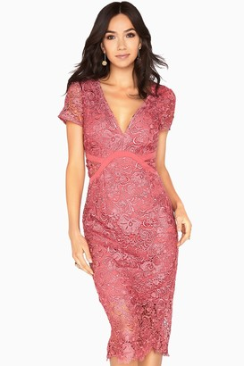 Little Mistress Megan Plunge Neck Crochet Pencil Dress