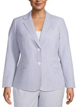 Anne Klein Plus Size Seersucker 2-Button Blazer