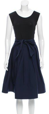 Donna Karan Pleated Colorblock Dress