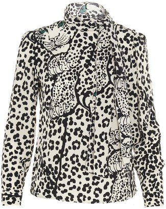 RED Valentino Pussy Bow Detailed Animal Print Blouse