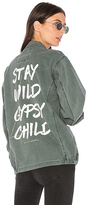 Spiritual Gangster Stay Wild Gypsy Child Army Jacket in Olive