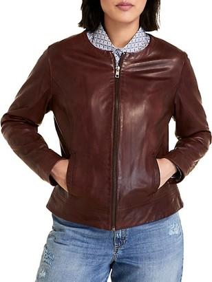 Marina Rinaldi, Plus Size Sport Eccelso Leather Zip Jacket