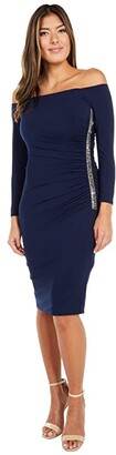 Adrianna Papell Off Shoulder Embellished Jersey Dress (Midnight) Women's Dress