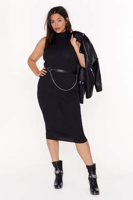 Nasty Gal Womens All Day And Tight Plus Ribbed Dress - Black - 16